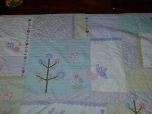 Pottery Barn Kids  Blanket Paste Purple Floral Flower Quilt Birds 82 x 86 inches