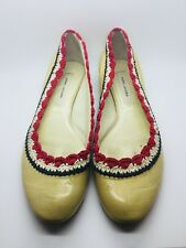 MARC JACOBS Nude Patent Leather Crochet Detail Ballet Flat Size 38