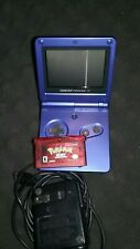 Game Boy Advance SP AGS 001 Cobalt Blue With Pokemon Ruby Version Game - Working
