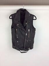 Topshop Faux Leather Grey Biker Jacket Size 8