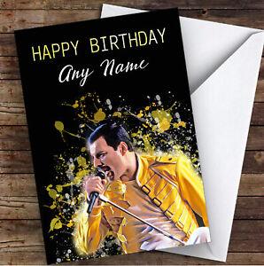 Freddie Mercury Splatter Art Celebrity Personalised Birthday Card