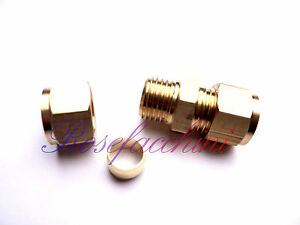 """8mm = 5/16"""" BRASS STRAIGHT COMPRESSION CONNECTOR JOIN EQUAL PIPE FITTING OLIVES"""