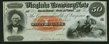 STATE OF VIRGINIA  1862  $50 TREASURY NOTE, CRISP AND UNCIRCULATED!