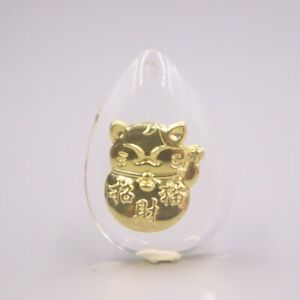 Man-made Crystal 24K Yellow Gold Foiled Lucky Cat Pendant 30mmH Best Gift