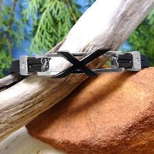 Black & Silver Rubber Bracelet with X-Design & CZ Accents