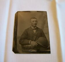 Antique tin type photo Man Derby Hat Bowler mustache tintype photograph ref15