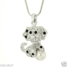 "W Swarovski Crystal Dog With Pearl Ball Puppy Pet 18"" Chain Necklace Gift"