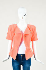 VINTAGE Thierry Mugler Coral Star Detailed Short Sleeve Peplum Jacket SZ 42