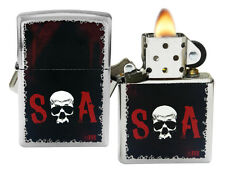 Zippo Lighter 28836 Sons of Anarchy SOA Street Chrome Pocket Windproof NEW