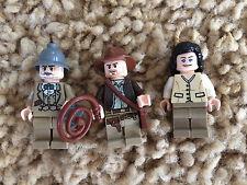 3 Lego Indiana Jones Minfigures Marion Ravenwood Henry Sr. Jones Lot 6 7625 7198