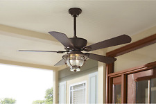 "Outdoor/Indoor 52"" Patio Ceiling Fan + Remote Transitional Light Industrial Cool"