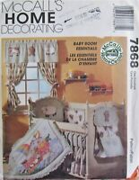 McCalls 7868 BABY ROOM Nursery Decor Quilt Bumper Sheet Diaper Stacker Pattern