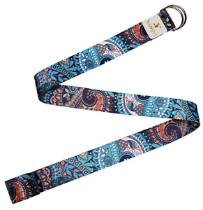 YANSYI 2Yoga Belts Eco-Printed Durable Premium Fabric Exercise Adjustable D-Ring