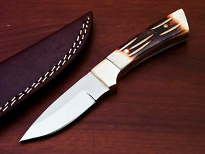 HAND MADE STAINLESS STEEL SKINING KNIFE-ENGRAVED BURN CAMEL BONE- PW-9748