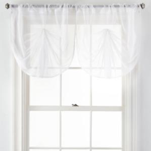 Liz Claiborne Lisette Sheer Fan Valance New Cool White 34 X 25