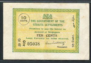 Straits Settlements 1919-1920, 10 Cents, P6c, EF