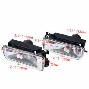 Pair Crystal Lens Front Fog Light Assembly Set For BMW 3 Series E36 1990-00