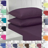 Fitted Flat Bed Sheet 4ft Small Double Single Super King Size PolyCotton Plain