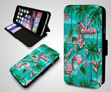 Pink Flamingo Pattern Hawaiian Tropical Mint Green Leather Flip Phone Case Cover