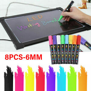 8 Colors Liquid Chalk Pens Marker Neon Reversible LED Writing Board Glass Window