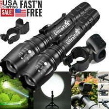 350000LM Tactical Zoom Focus LED T6 Powerful Flashlight 18650 Torch & Bike Clip
