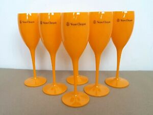6x Veuve Clicquot Acrylic Plastic Champagne Orange Flutes Glasses195ml 20cm