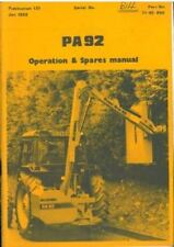 McCONNEL PA92 HEDGETRIMMER HEDGECUTTER OPERATORS AND PARTS MANUAL