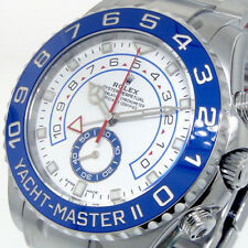 ROLEX 116680 YACHTMASTER ll STAINLESS STEEL BLUE CERAMIC WHITE NEW STYLE HANDS