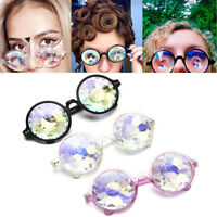 Rave Festival Kaleidoscope Rainbow Round Glasses Prism Diffraction Crystal Lens