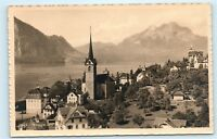 Weggis Pilatus Switzerland Church City Town View Vintage Real Photo Postcard C56