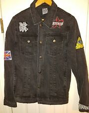 Drop Dead Punk Rock Faded Long Sleeve Black Denim Jacket with Custom Patches