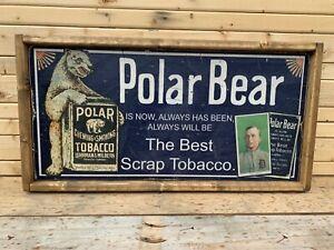 Rustic Style Direct Print to Wood Ty Cobb polar Bear Ad 12x24 Display ! WOW