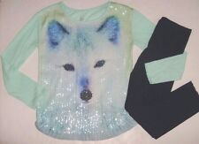 JUSTICE ON Girls size 12 10/12 FOX SHIRT LEGGINGS OUTFIT