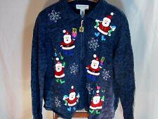 VTG Ugly Tacky Christmas Sweater SZ L Cardigan Santa Presents Full Zip Snowflake