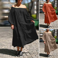UK Womens Long Sleeve Off Shoulder Casual Loose Tiered Cocktail Party Maxi Dress