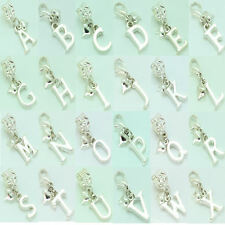 A - Z Initial Letter Charm Clip On or Bail Fits Ladies Girls Bracelet Necklace