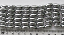 10 x magnetic 'hematite' large oval beads, approx 6mm x 11mm, silver coloured