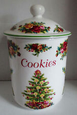 Royal Albert Old Country Roses Cookie Jar Holiday Classic Christmas Tree
