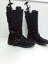 Ladies Mid Calf Boots Suede Black Size 7 Fur Lined Inner autumn walks