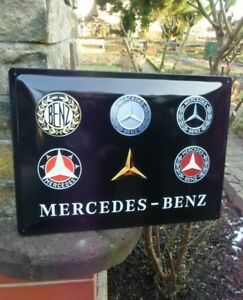 Mercedes Benz OFFICIAL LARGE METAL WALL SIGN - Logo Evolution - Made in Germany