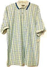 Halifax Mens Gray Blue Yellow Plaid Cotton Polo Shirt Size Large New        MG1