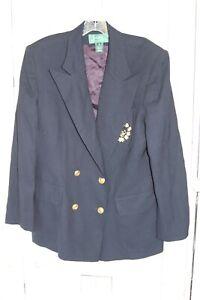 Vintage Women's Lauren Ralph Lauren Blazer With Crest Wool Navy Blue LRL 14