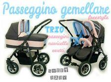 Passeggino gemellare freestyle TRIO navicelle ovetti bicolor grigio+rosa/azzurro