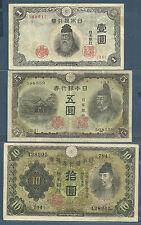 Japan 1, 5, 10 Yen 4 Pcs Set, 1930 - 1943, P 49a 50a 40a 51a, VF-XF