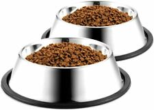 Dog Bowls Stainless Steel for Water & Food Dog Dish Feeder with Rubber Base