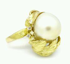 Blanco 18.5mm SUR mar perla y Diamante Anillo en 18ct Oro Amarillo - hm1571