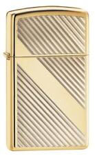 Zippo Windproof Slim High Polished Brass Lighter With Lines, 29724,  New In Box
