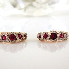 Ohrringe 585 Rotgold 94 Diamant 0,17 ct. W/Si, 10 Rubin Edelsteine 0,76 ct. NEU