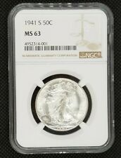 1941-S Walking Liberty Half Dollar | NGC MS 63 | Lustrous & Bright White!