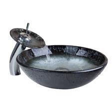 Bathroom Round Tempered Glass Basin Vessel Sink Brass Mixer Faucet Combo Set